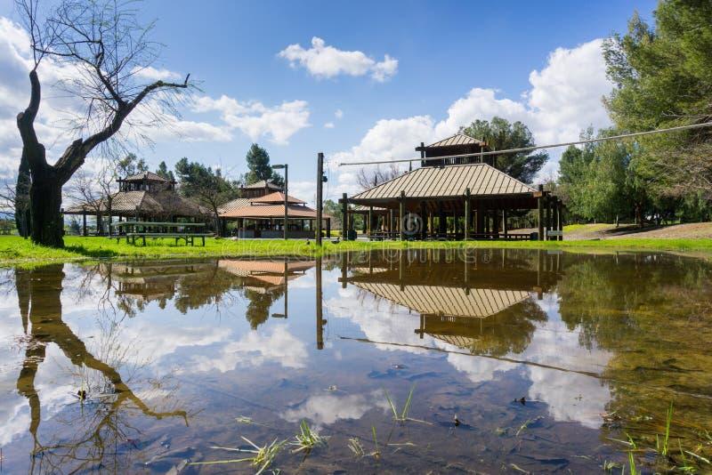 风景在Cunningham湖;被盖的野餐斑点在雨创造的池塘反射了,圣荷西,南部旧金山湾, 库存图片