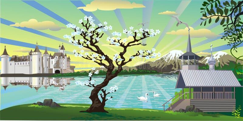 风景城堡、一个教堂和一棵樱桃树在湖 免版税库存照片