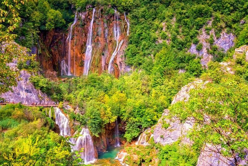 风景夏天室外旅行背景,Plitvice湖国立公园,克罗地亚 库存图片