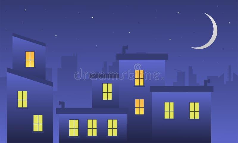 风景大厦在剪影晚上  皇族释放例证