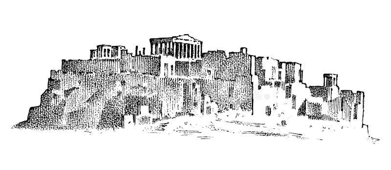 风景山和大厦在希腊 古老古色古香的希腊文化 r 手拉的被刻记的剪影 库存例证