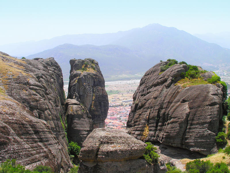 风景岩石,迈泰奥拉 图库摄影