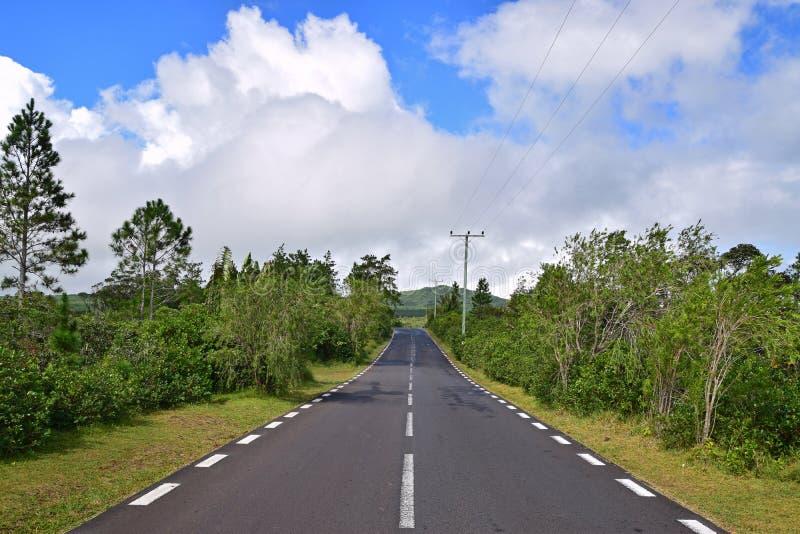 风景干净的安静的平静的路在与绿色树和蓝天的农村或郊外区域 库存图片