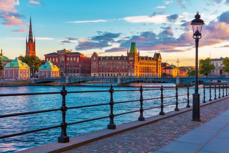 风景日落在斯德哥尔摩,瑞典 免版税库存照片