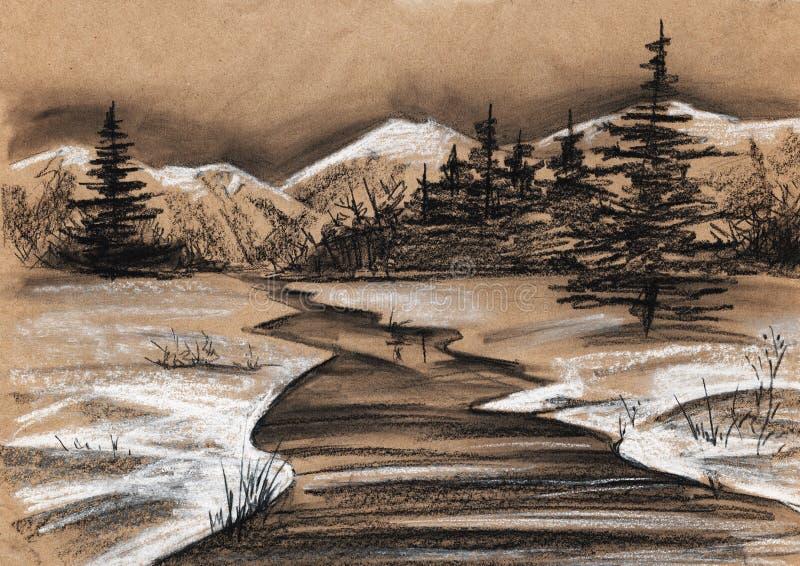 风景早期的春天 冷杉,山,河,领域,森林 库存例证
