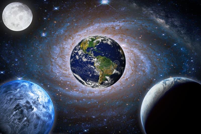 风景星系 行星,地球,从空间的月亮视图与乳状 免版税库存图片