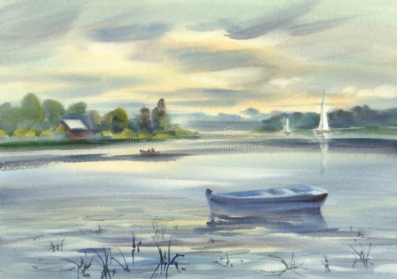 风景有小船水彩背景 我其他看到暑假工作 库存例证