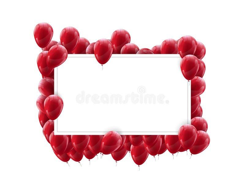 风景框架海报嘲笑与在轻的背景的红色气球 欢乐五颜六色的设计 库存例证