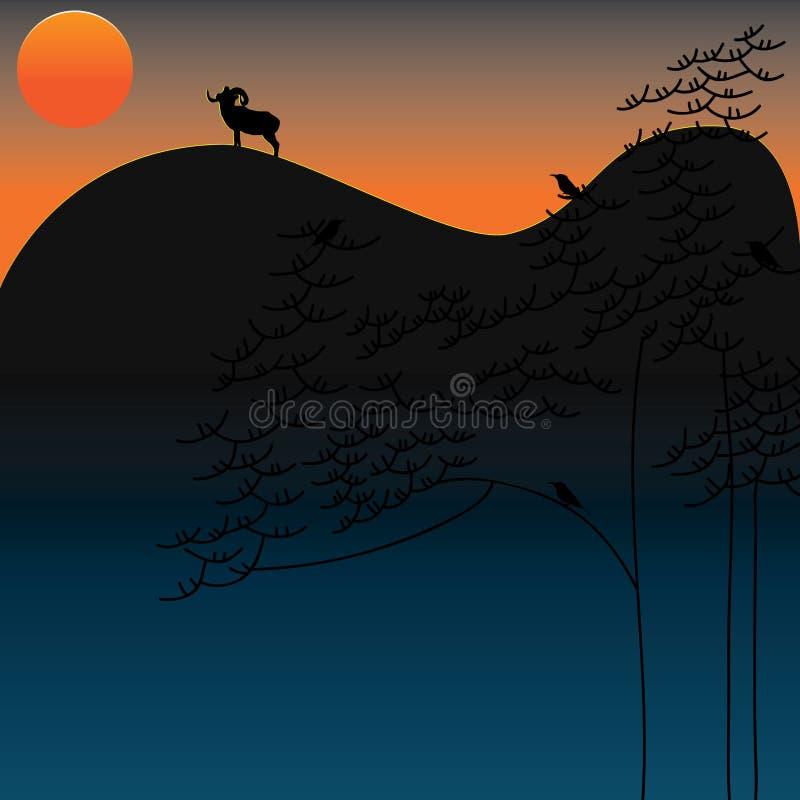 风景植物日落动物 皇族释放例证