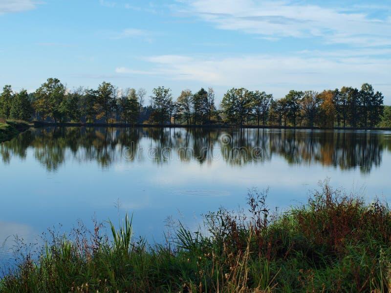 风景池塘,南波希米亚 免版税库存照片