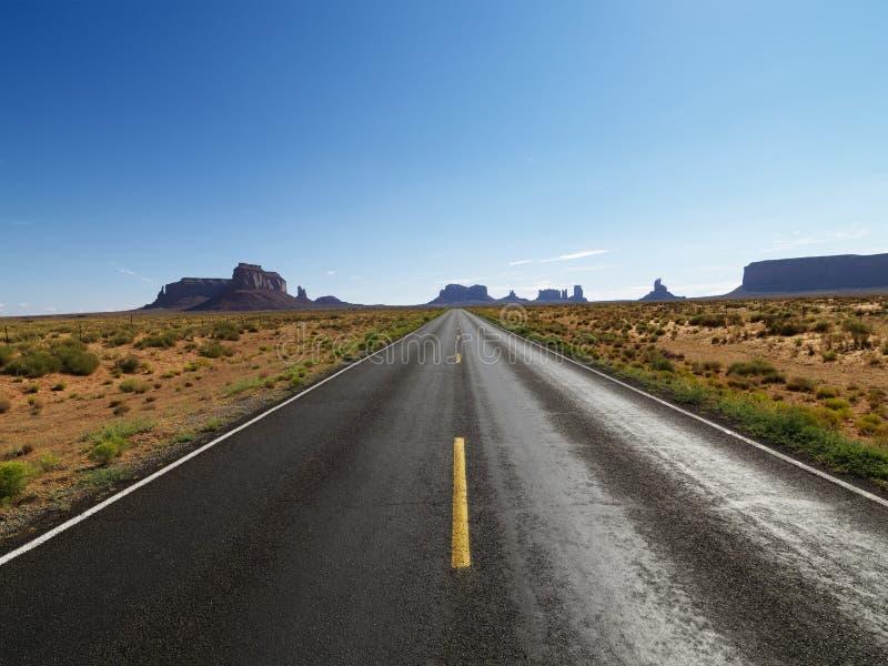 风景沙漠的路 库存照片