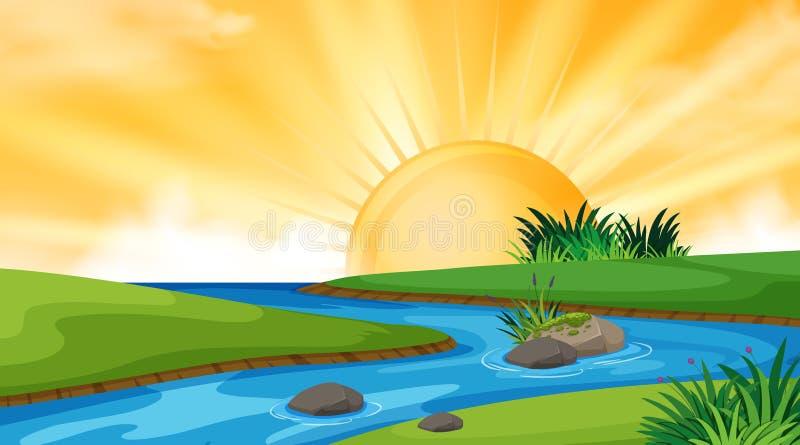 风景河背景设计日落的 皇族释放例证