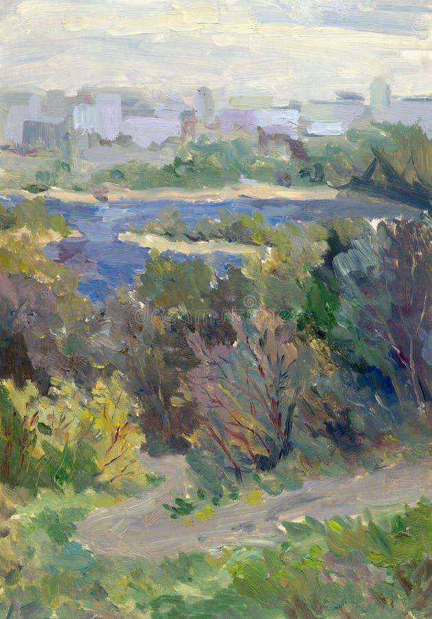 风景油 城市导致河的公园路 向量例证