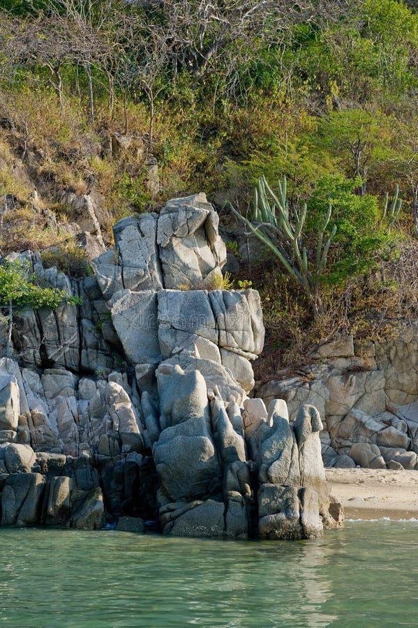 风景海岸线的huatulco 免版税库存图片