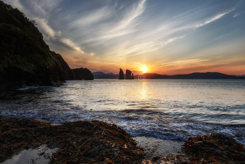 风景海景:在太平洋的日落 库存照片