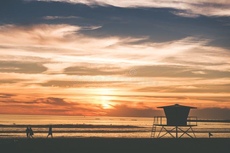 风景海滩日落 免版税图库摄影