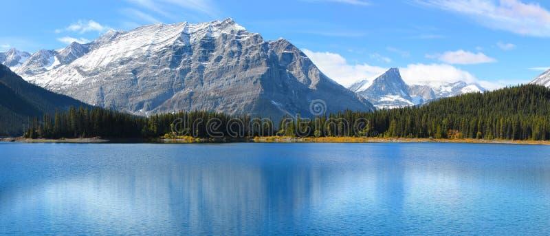 风景湖在班夫国家公园用清楚的水 免版税库存图片