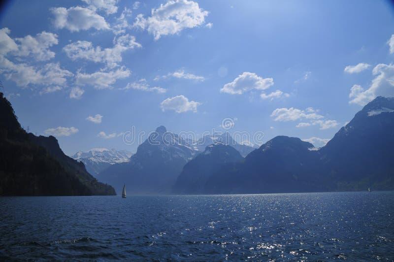 风景湖的卢塞恩 免版税库存图片