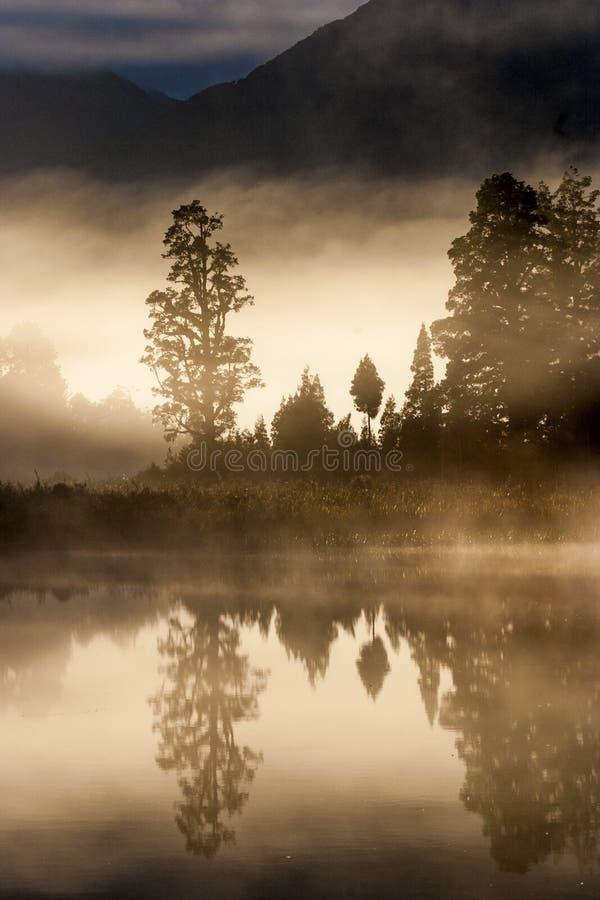 风景湖matheson新西兰 库存照片