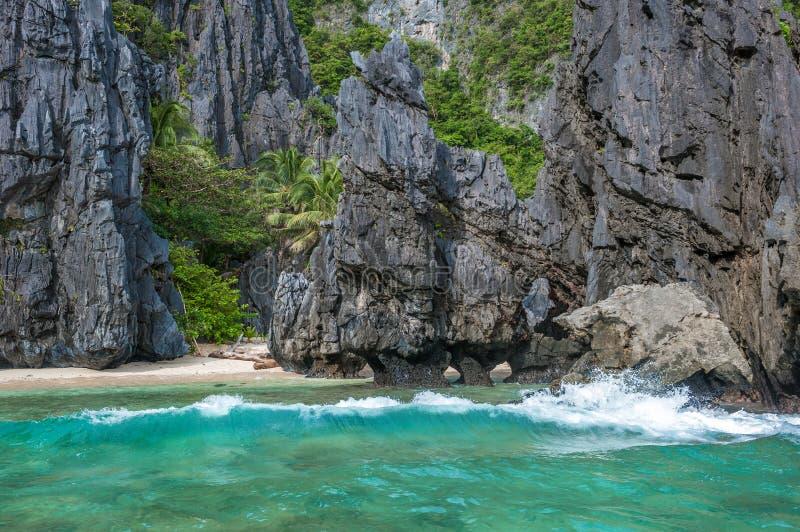 风景热带海岛风景, El Nido,巴拉望岛,菲律宾 库存照片
