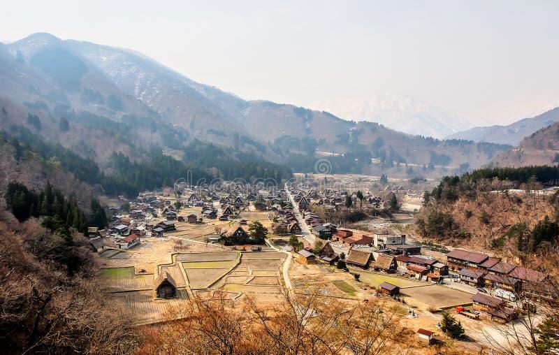 风景白川町去村庄,日本1 免版税库存图片