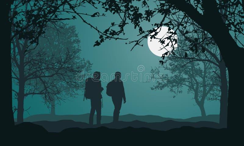 风景的例证与森林、树和小山的,在夜与满月的绿色文本的天空和空间下 两人, 库存例证