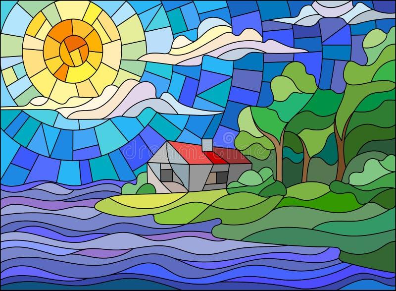 风景的彩色玻璃图片,海岸的一个偏僻的房子反对落日 向量例证