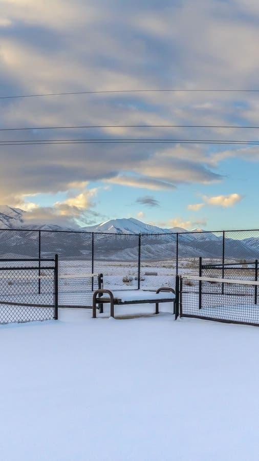 风景的清楚的垂直的网球场覆盖与雪在冬天季节期间 免版税库存图片