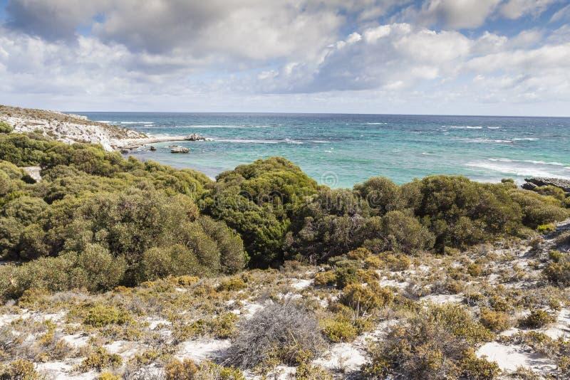 风景看法其中一海滩Rottnest海岛, Australi 免版税库存照片