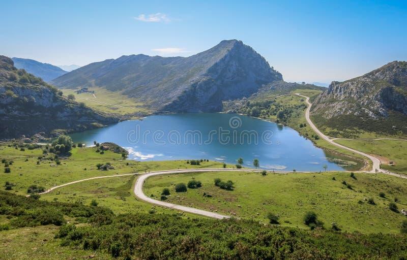 风景看法在科瓦东加,阿斯图里亚斯,北西班牙 免版税库存照片