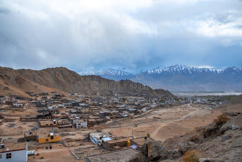 风景看法在莱赫拉达克区,印度的酷寒北风零件 库存图片