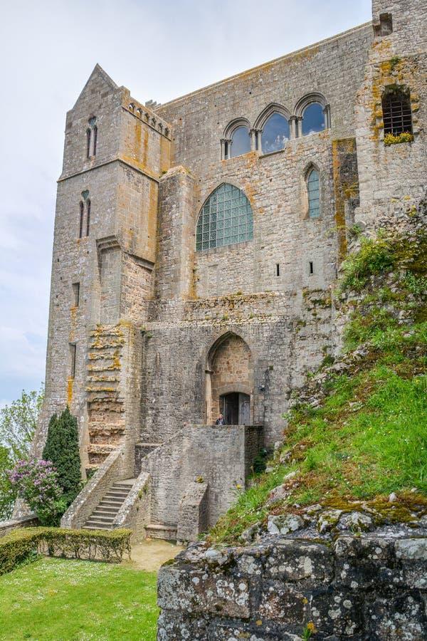 风景看法在Mont圣米歇尔,诺曼底,法国 免版税库存图片