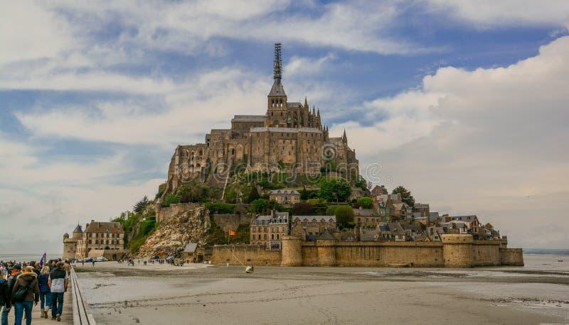风景看法在Mont圣米歇尔,诺曼底,法国 库存照片