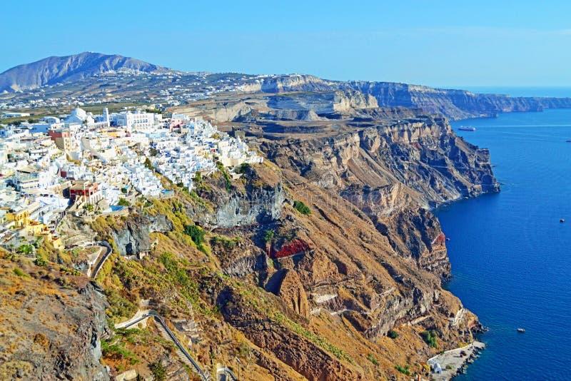 风景看法独特的圣托里尼海岛地平线希腊 免版税库存图片
