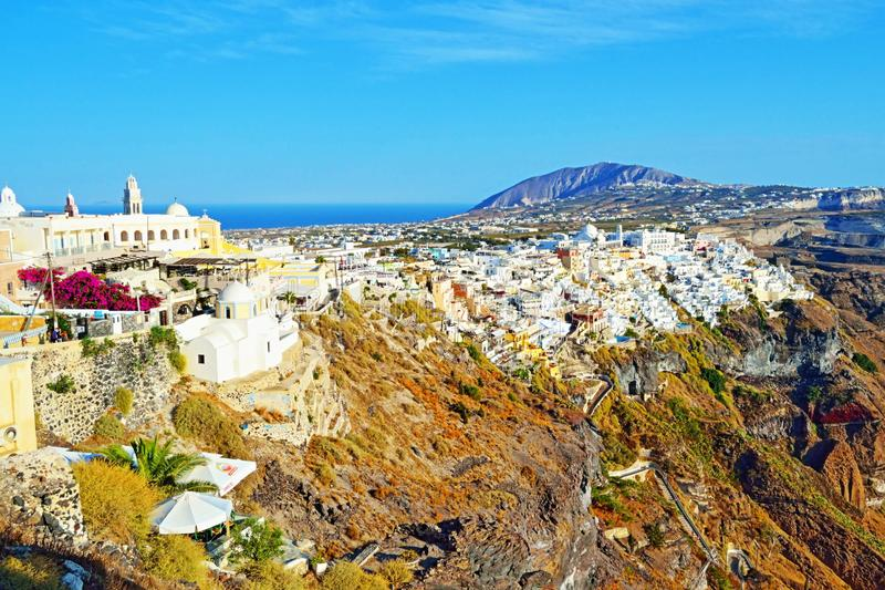 风景看法独特的圣托里尼海岛希腊 图库摄影