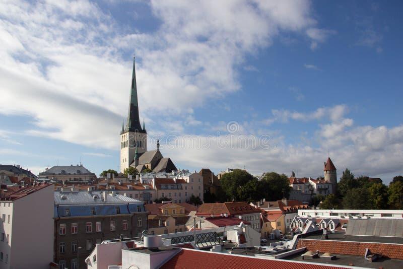 24-27 08 2016风景老镇的夏天美好的空中地平线全景在塔林,爱沙尼亚 免版税库存图片
