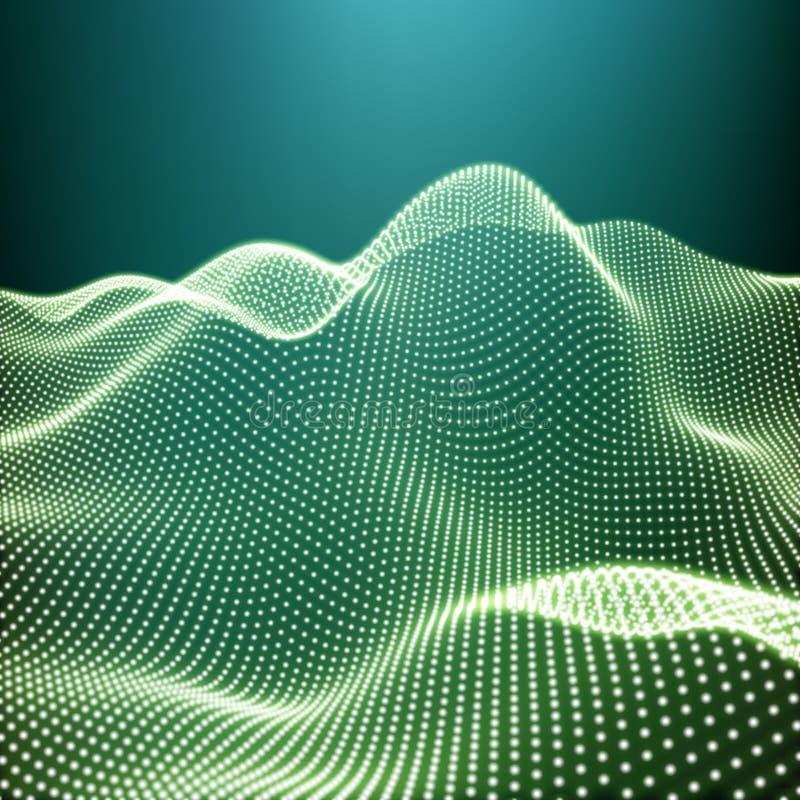 风景背景 与发光的栅格的未来派风景 低多地形 3D Wireframe地形 网络抽象背景 皇族释放例证