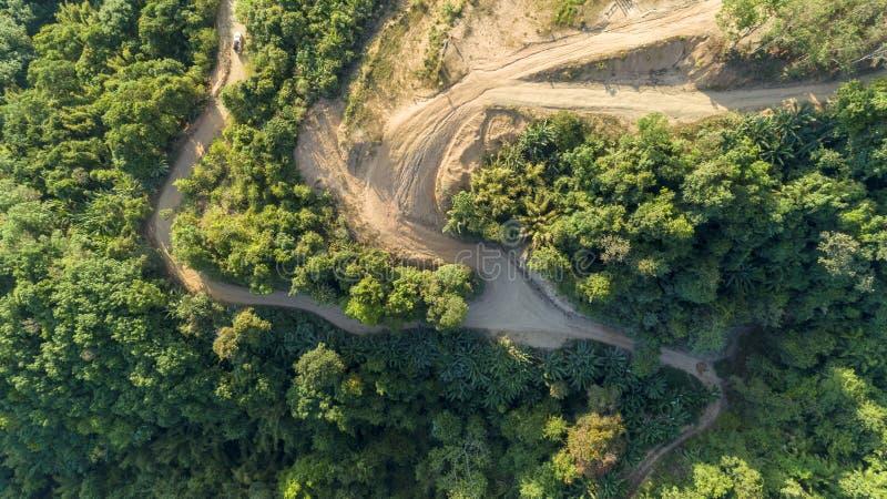 风景自然视图,夏天山看法在泰国鸟瞰图寄生虫的射击了 库存图片