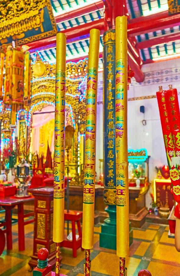 风景蜡烛在中国寺庙,仰光,缅甸黏附 免版税库存图片