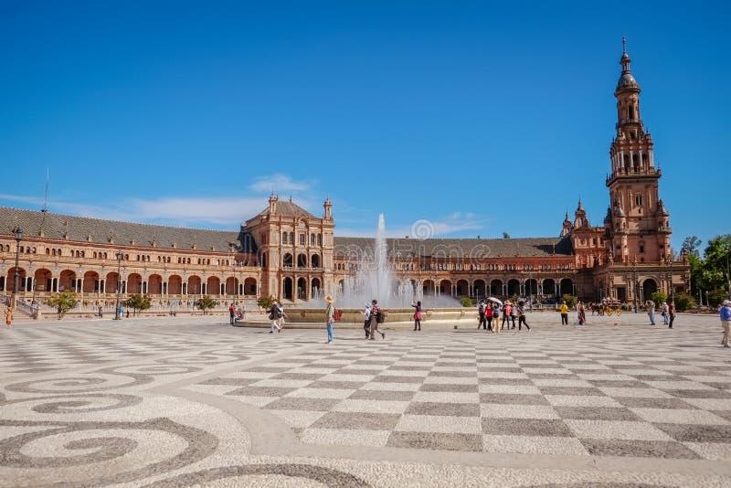 风景观点的Plaza de西班牙 塞维利亚西班牙 免版税库存图片