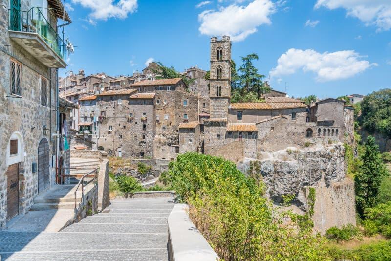 风景视域在龙奇廖内,维泰博,拉齐奥,中央意大利省  免版税库存照片