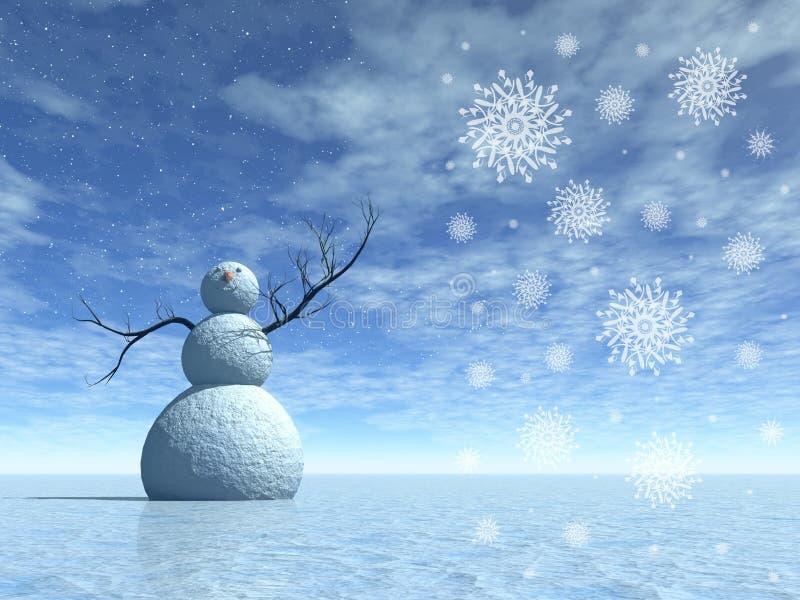 风景雪人冬天 皇族释放例证