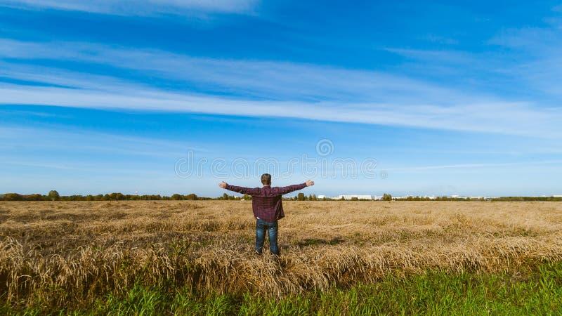 风景领域背景的人  免版税库存照片