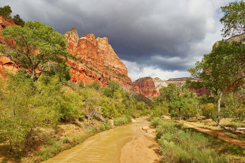 风景风景在宰恩国家公园,犹他 免版税图库摄影