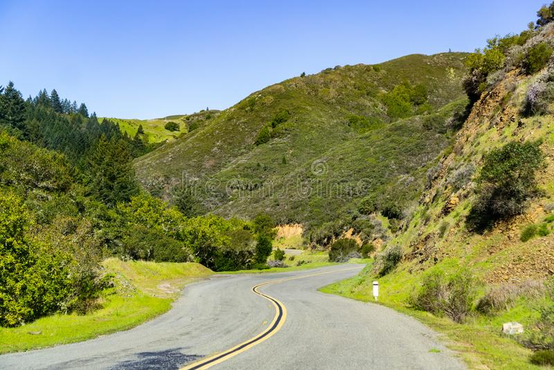 风景驱动通过马林县在一个晴朗的春日,北部旧金山湾区,加利福尼亚嫩绿的小山  免版税库存照片