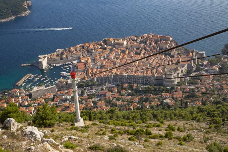 风景鸟瞰图在克罗地亚、普遍的夏天王位风景旅游目的地和比赛的著名杜布罗夫尼克里维埃拉  免版税库存照片