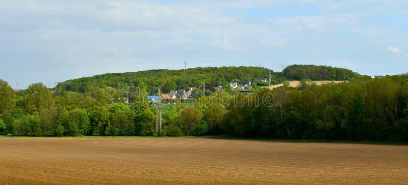 风景,全景 领域,耕地,天空 在森林的边缘是与绿色树,春天的领域 r 库存图片