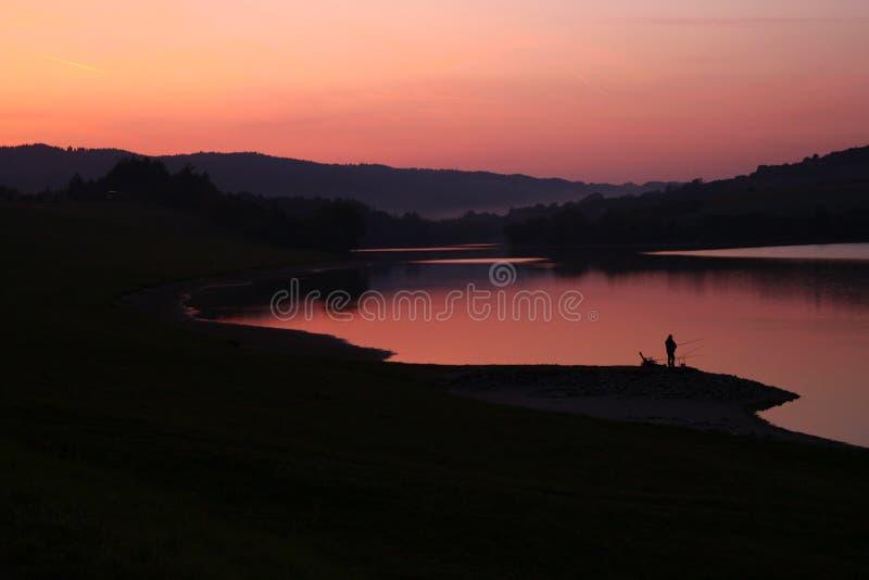 风景,水,自然,日落,钓鱼 免版税库存照片