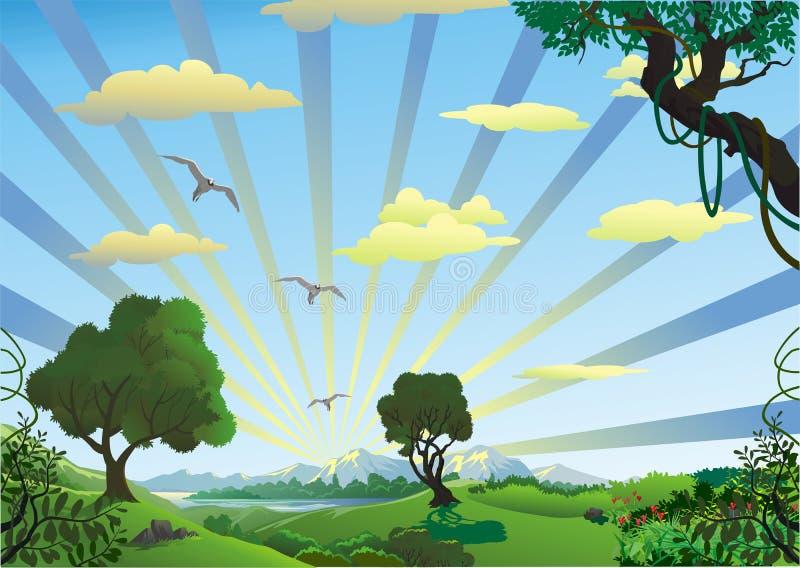 风景-树在小山的早晨 向量例证