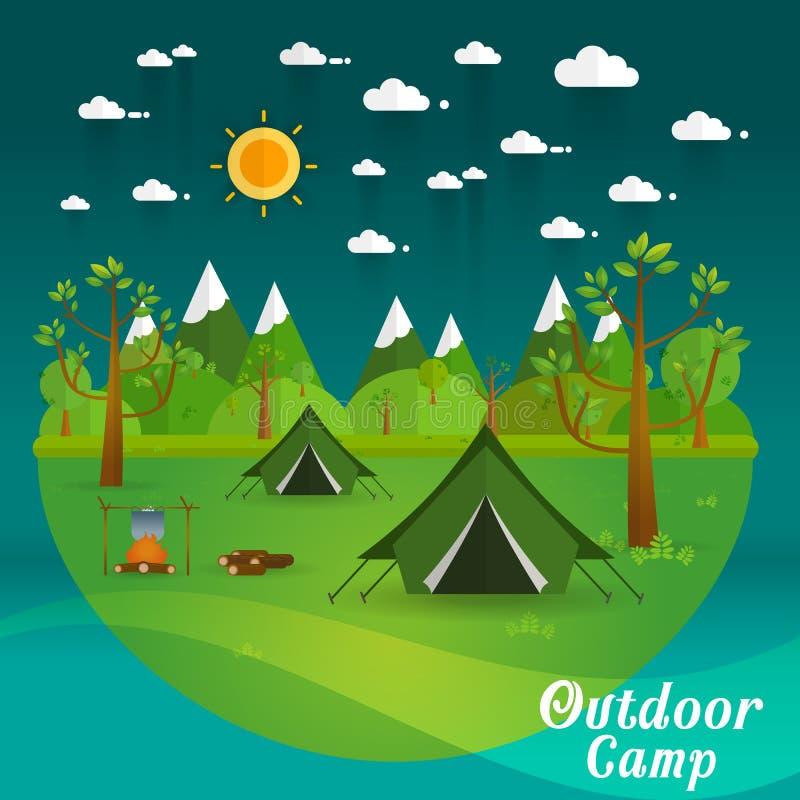 风景 远足和野营 传染媒介平的例证 库存例证